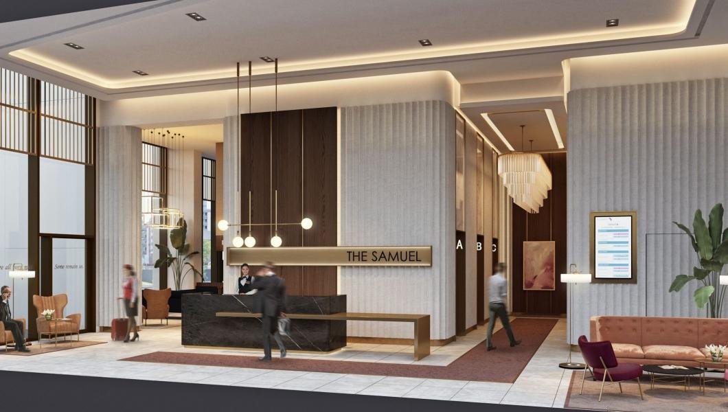 The Lobby area at The Samuel Hotel in Dublin City Centre
