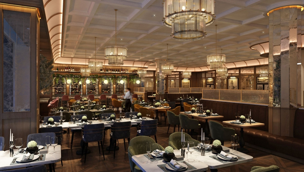The restaurant area at The Samuel Hotel